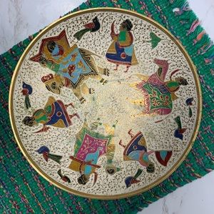 Vintage India Brass Hand Painted Pedestal Bowl
